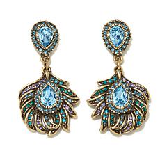 "Heidi Daus ""Pretty as a Peacock"" Crystal Drop Earrings"