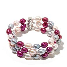 Imperial Pearls 3-Row 7-7.5mm Multicolor Pearl Bracelet
