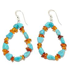 Jay King Amber and Iron Mountain Turquoise Earrings