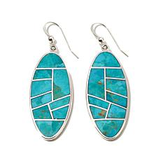 Jay King Elongated Oval Turquoise Inlay Drop Earrings