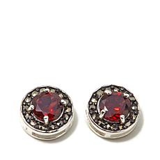 Marcasite and Garnet Sterling Silver Stud Earrings