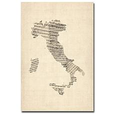 "Michael Tompsett ""Italy-Old Sheet Music Map"" - 22""x32"""
