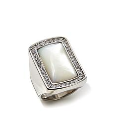 Mother-of-Pearl & Crystal Rectangular Stainless Ring