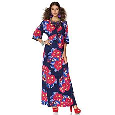 "Nikki Poulos ""Erin"" 3/4 Bell-Sleeve Maxi Dress"