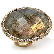 Rarities Labradorite & White Zircon Vermeil Ring