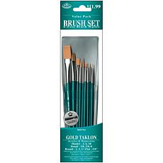 Royal Langnickel Gold Taklon Long Blue-Handle Brush Set