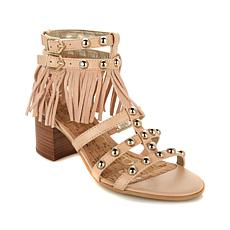 "Sam Edelman ""Shaelyn"" Leather and Suede Fringed Sandal"