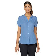 Samantha Brown Cap Sleeve Button Down Top