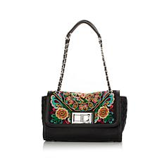Sharif Embroidered Flap Turn-Lock Shoulder Bag