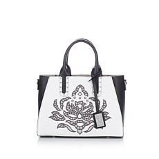 Sharif Embroidered Mixed Leather Satchel