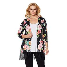 Slinky® Brand 3/4-Sleeve Printed Jacket with Fringe Hem