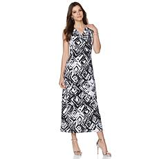 Slinky® Brand Printed Cowl-Neck Maxi Dress