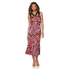 Slinky® Brand Printed Flounce Maxi Dress