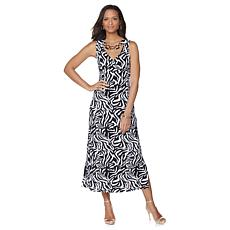 Slinky Brand Printed Maxi Dress with Metal Trim