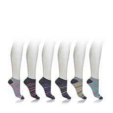 Sporto No Cushion No Show Sock 6pk - Stripes
