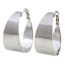 "Stately Steel Satin-Finish 1-5/16"" Hoop Earrings"