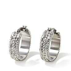 "Stately Steel Stainless Steel 1"" Crystal Hoop Earrings"