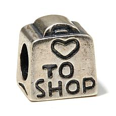 "Sterling Silver ""Love to Shop"" Purse Slide Charm"
