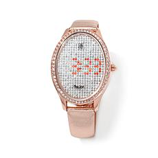 Victoria Wieck Crystal LED Metallic Leather Strap Watch