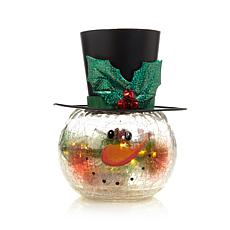 Winter Lane Crackle Glass Pre-Lit Snowman
