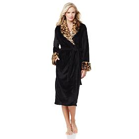 A by Adrienne Landau Plush Robe with Faux Fur Trim