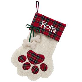 Red Plaid Cuff Paw Dog Bone Personalized Stocking