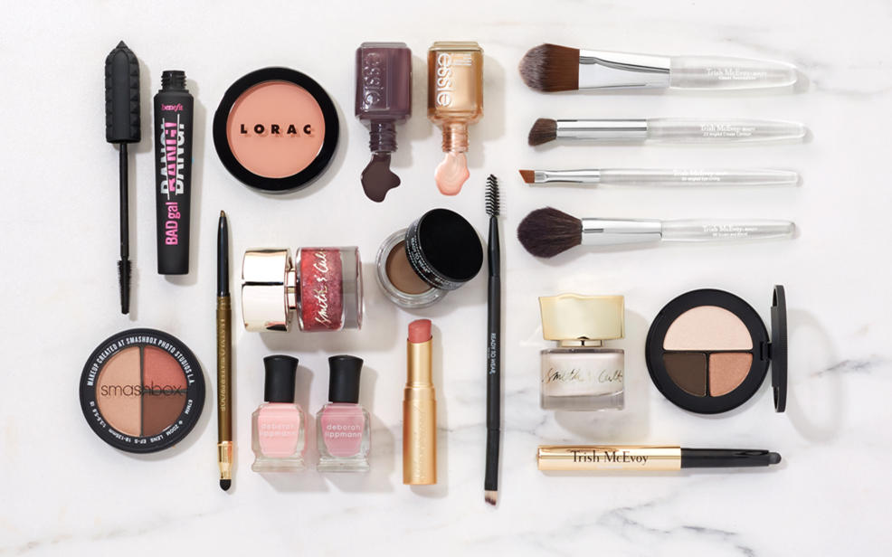 Makeup products laying out on a table