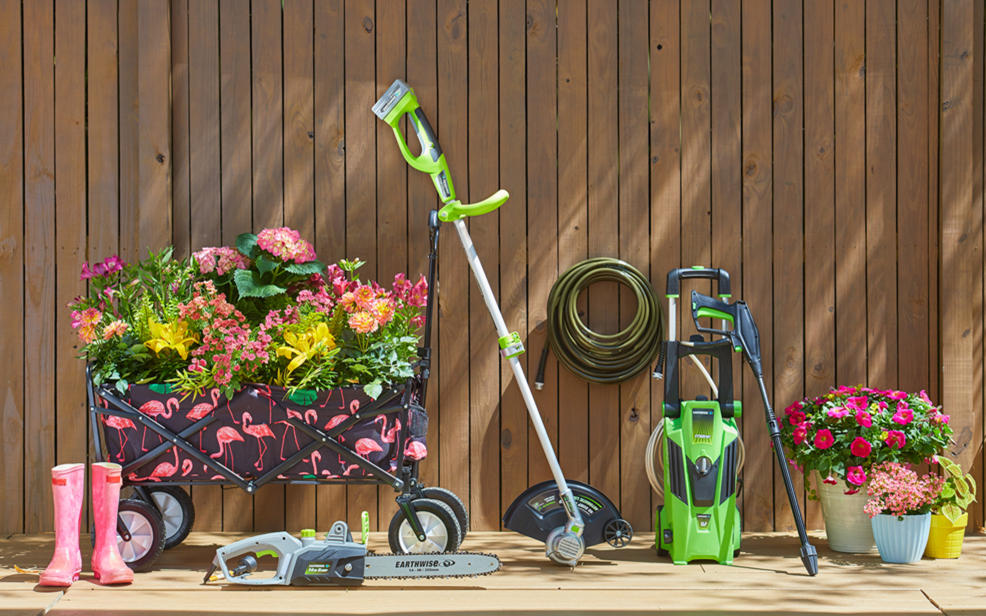 Lots of lawn tools and flowers