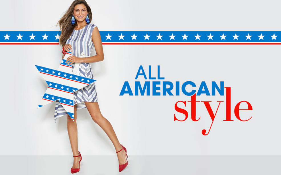 All American Style. A woman in a striped dress.