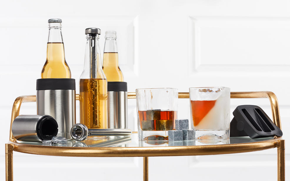 Image of barware, glassware, wine openers, kitchen gadgets, and more.
