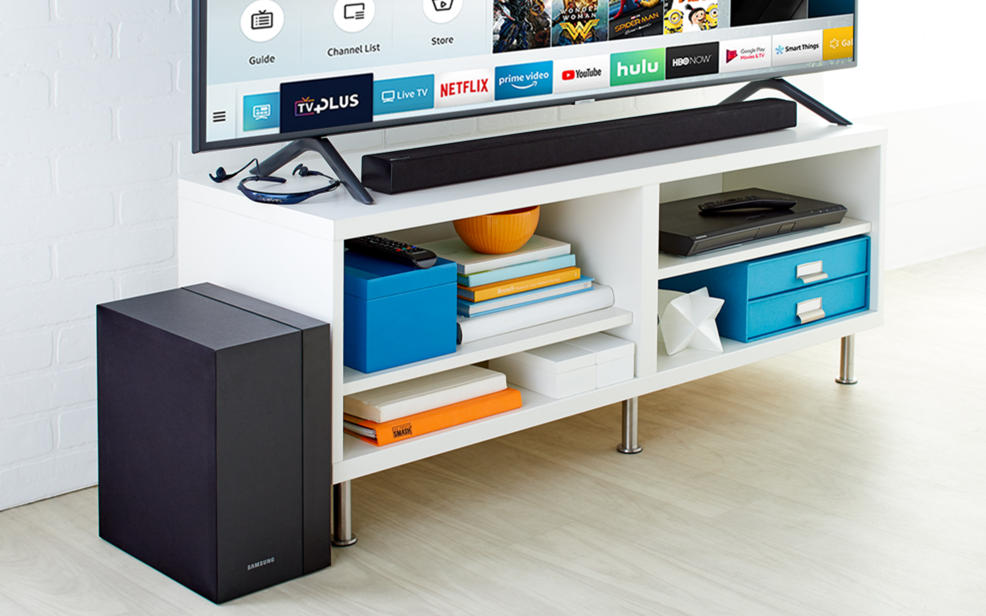 Samsung products. Tv, soundbar, speaker, and blu-ray