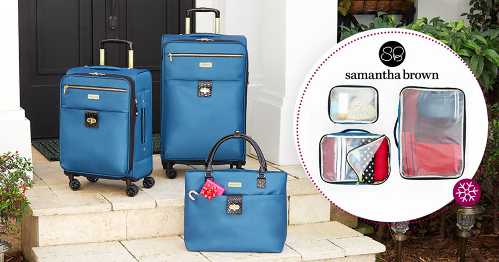 Samantha Brown Luggage Qvc: (HSN) Samantha Brown Luggage Set With 2 Spinners, Tote And