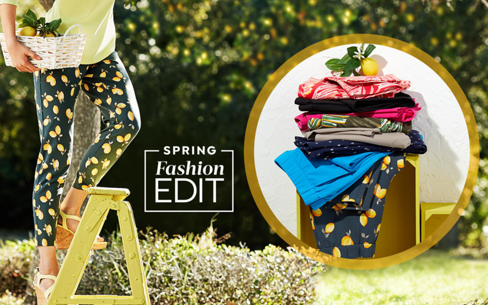 HSN's Today's Special. spring fashion edit. a woman in a yellow top patterned leggings picks a lemon