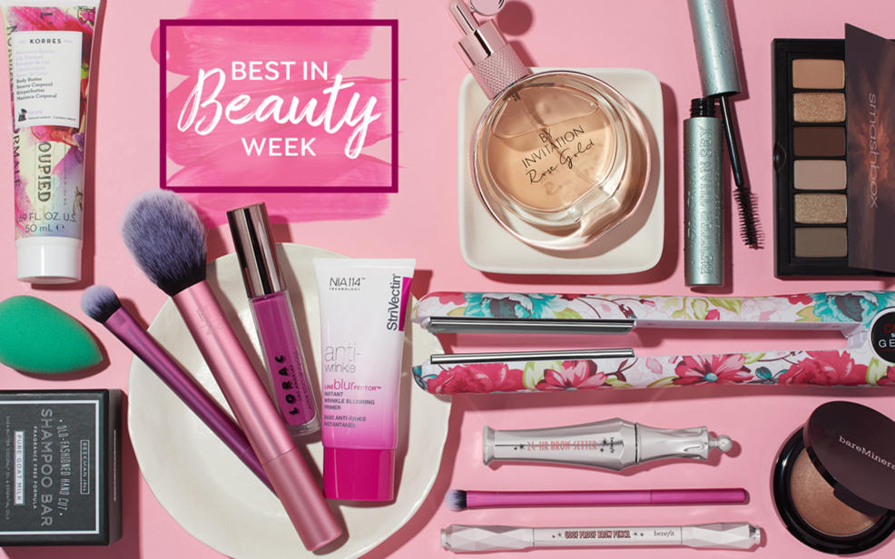 best in beauty week. a collection of makeup products.