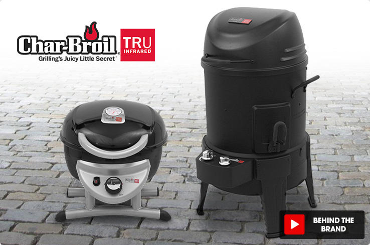 Char-Broil Tru Infrared. Grilling's Juicy Little Secret. A countertop grill sits next to a outdoor grill on a brick paver floor.
