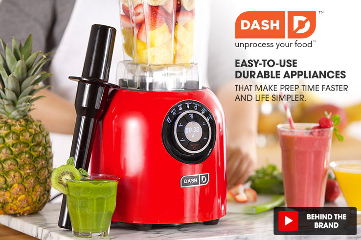 Dash logo. Unprocess your food. Easy-to-use durable appliances. That make prep time faster and life simpler. a kiwi, strawberry and mango smoothie sit next to a dash blender.