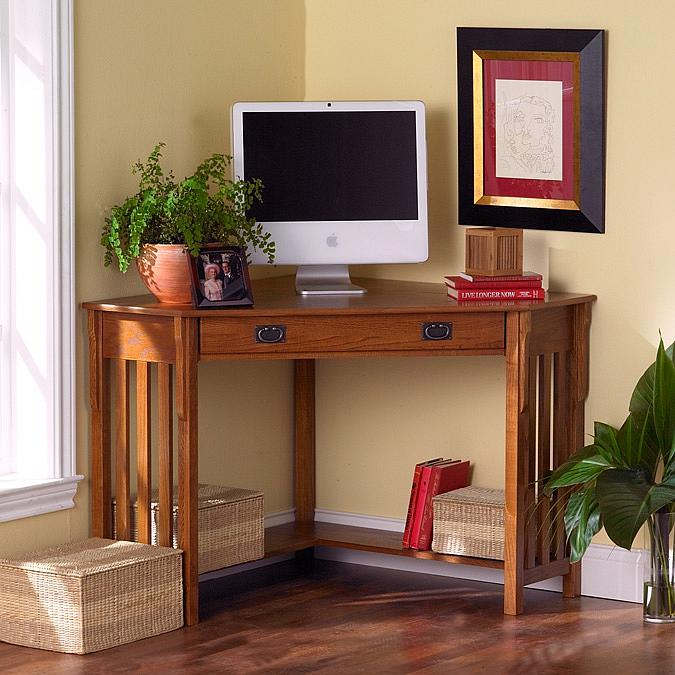 Southern Enterprises Oak Corner Computer Desk