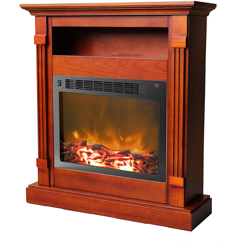 Cambridge Sienna Fireplace Mantel with Electronic Fireplace Insert - Cherry