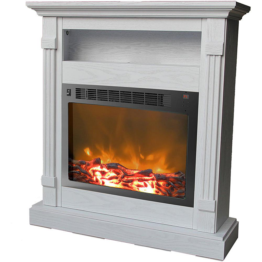 Cambridge Sienna Fireplace Mantel with Electronic Fireplace Insert - White