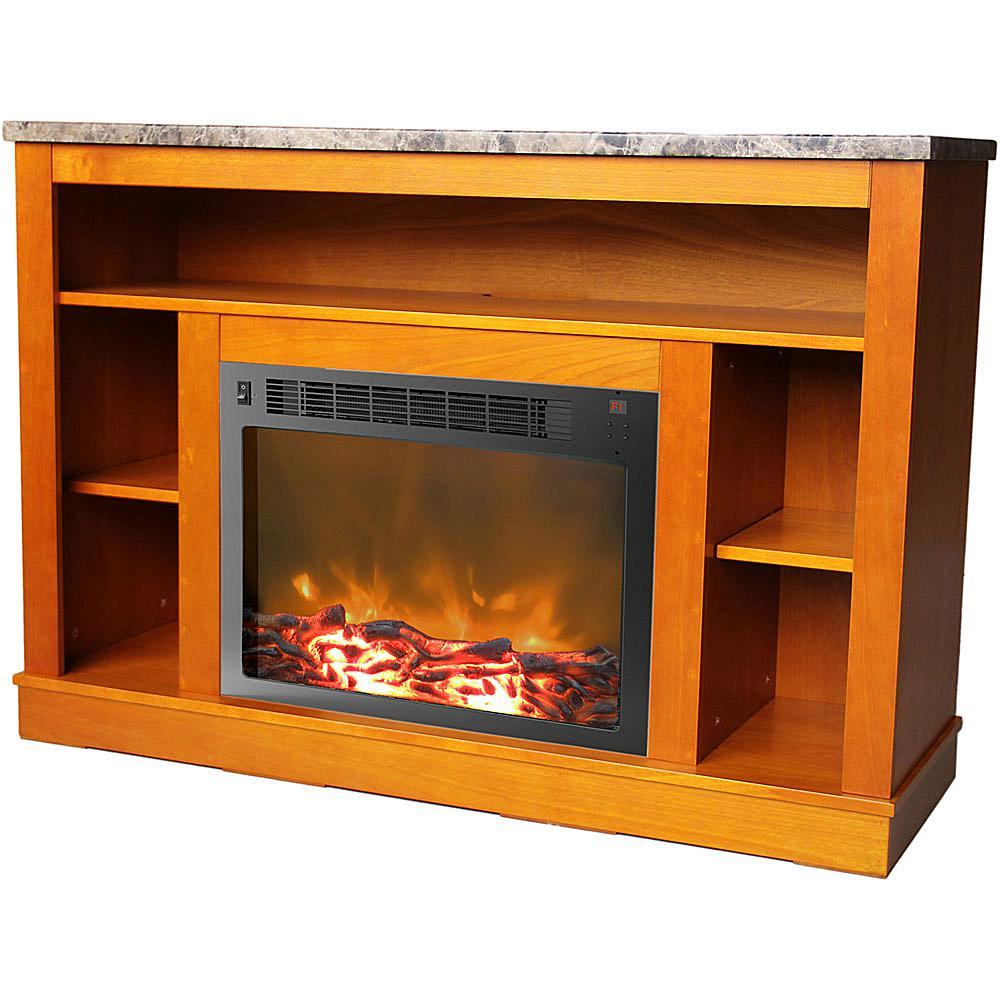 Cambridge Seville Fireplace Mantel with Electronic Fireplace Insert - Teak