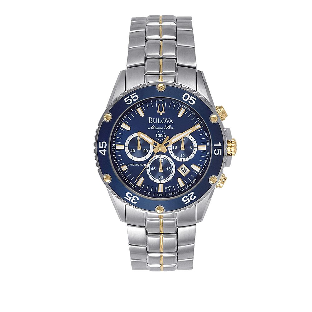Bulova Men's Blue Dial 2-Tone Stainless Steel Marine Star Collection Chronograph Bracelet Watch
