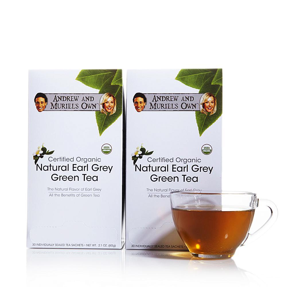 Andrew Lessman Certified Organic Natural Earl Grey Green Tea - 60 Sachets