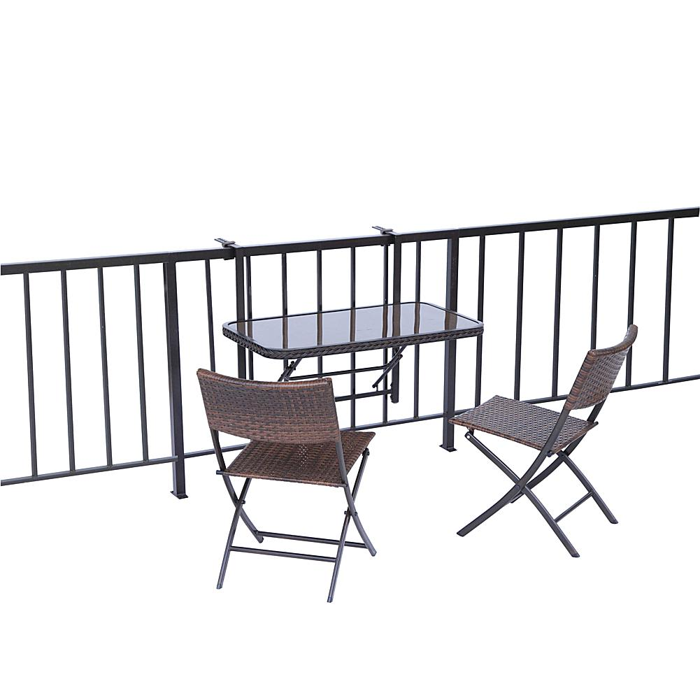 Folding Balcony/Deck Table with 2 Chairs