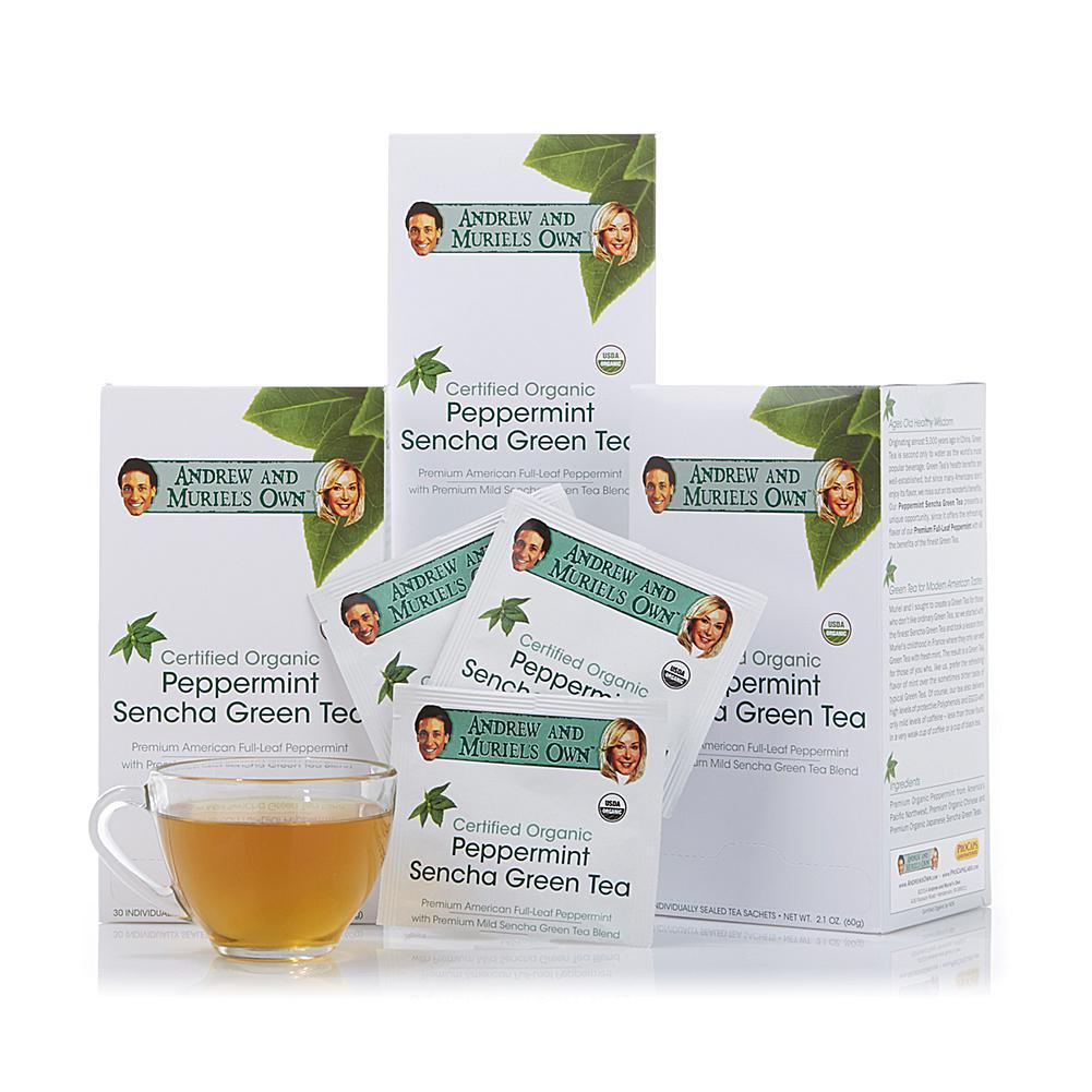 Andrew Lessman Certified Organic Peppermint Sencha Green Tea - 90 Sachets