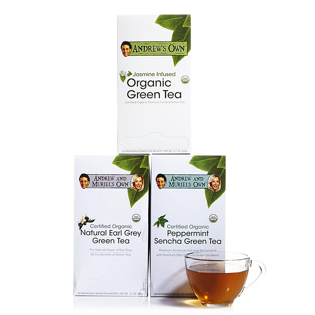 Andrew Lessman Variety Kit - Jasmine Green Tea AND Earl Grey Green Tea AND Peppermint Green Tea - 30 Sachets Each