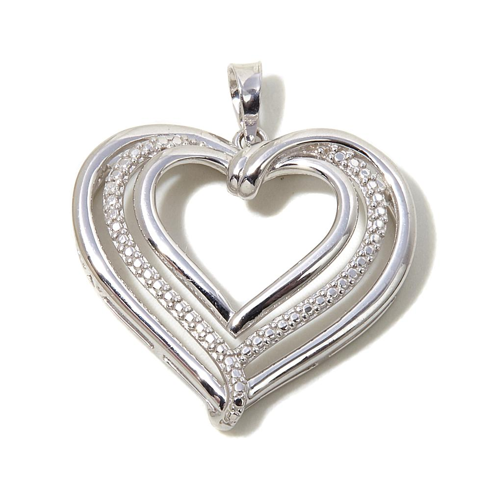 Michael Anthony Jewelry Diamond-Accented Sterling Silver Heart Pendant