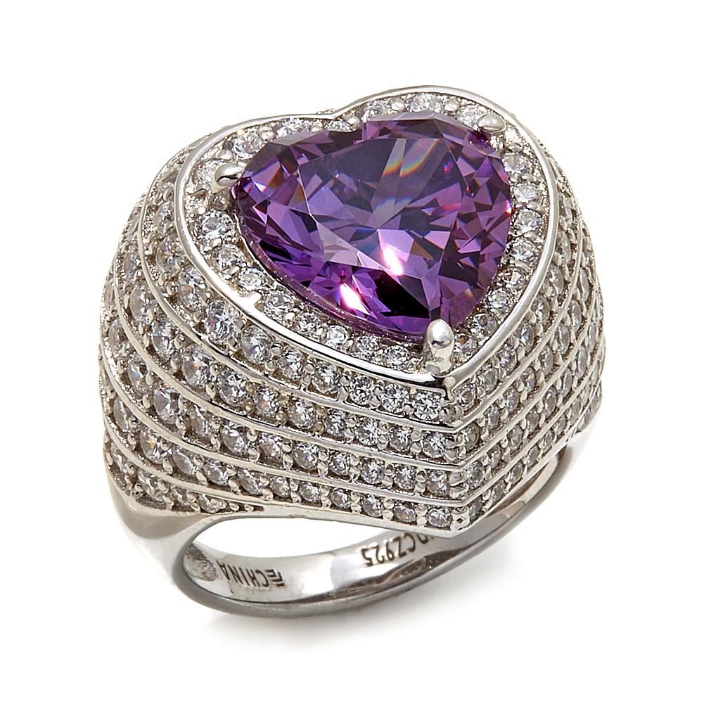Hsn Sterling Silver Purple Heart Ring