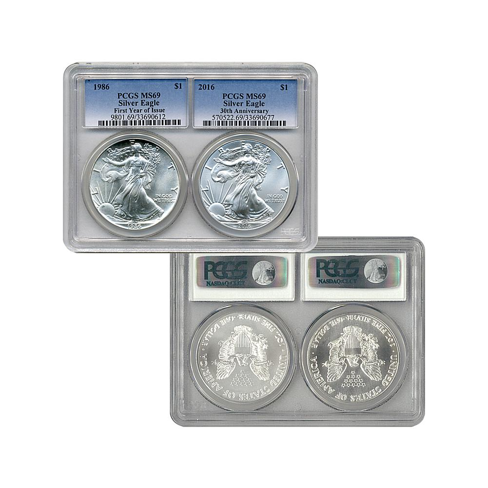 Coin Collector PCGS MS69 30th Anniversary Silver Eagle Set - 1986 and 2016
