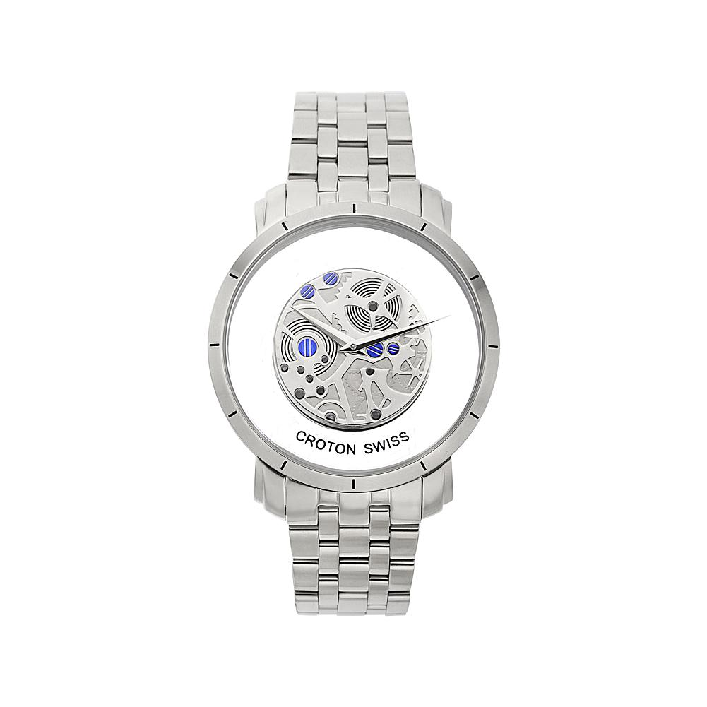 Croton Men's Skeleton See-Through Dial Swiss-Movement Stainless Steel Bracelet Watch