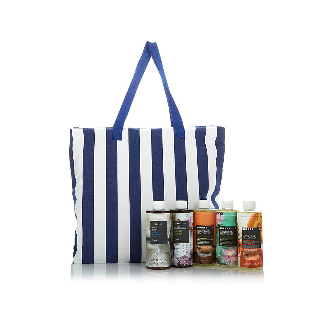 Korres Escape to Greece 5-piece Shower Gel Set & Beach Tote